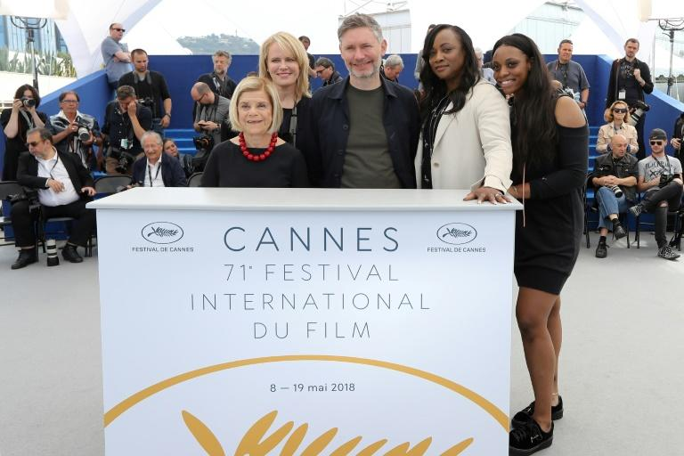 "US producer Nicole David, US producer Lisa Erspamer, British director Kevin MacDonald and US executive producer Pat Houston and her daughter US actress Rayah Houston appeared at a photocall for ""Whitney"" in Cannes"