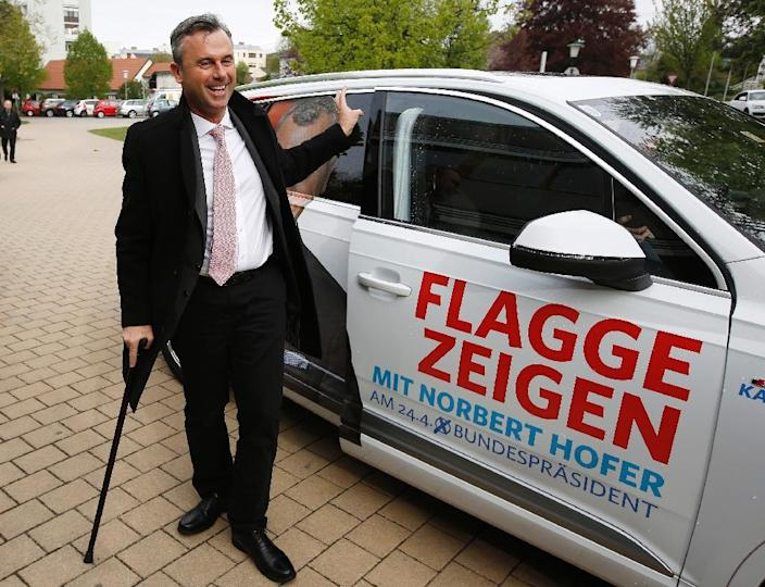 According to final results, Norbert Hofer of the Freedom Party (FPOe) came a clear first with 35 percent in Sunday's first round of an election for the largely -- but not entirely -- ceremonial post of Austrian head of state (AFP Photo/Dieter Nagl)
