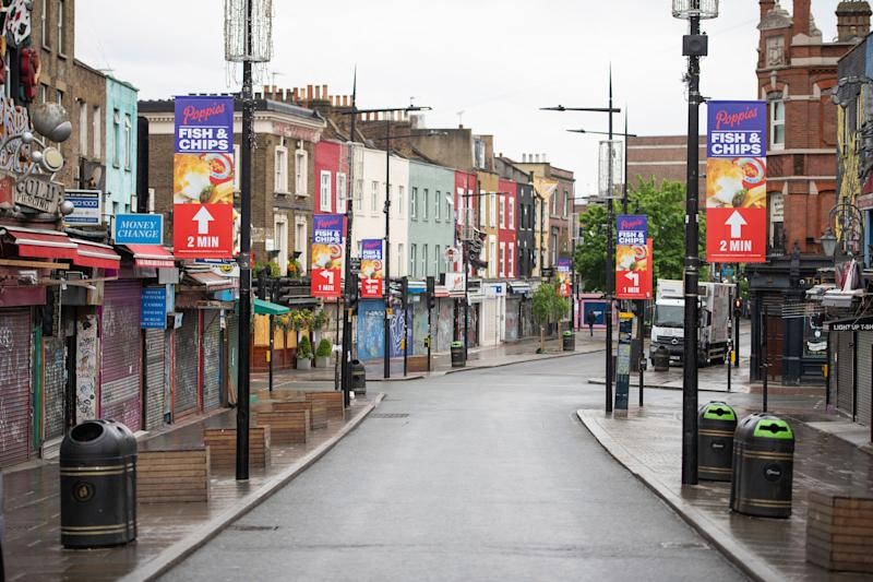 <strong>A general view of a deserted Camden High Street in April.</strong> (Photo: ASSOCIATED PRESS)