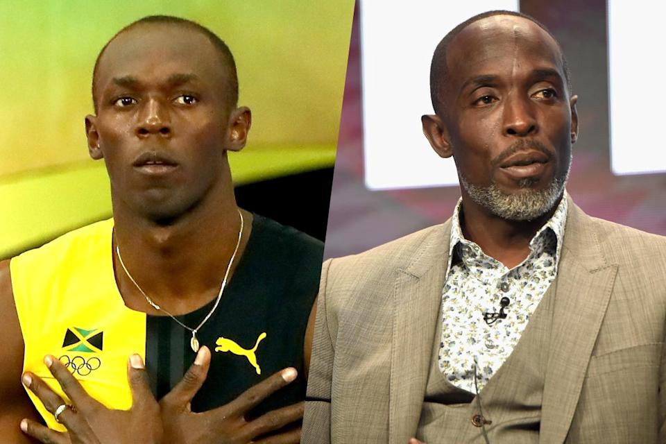 <p>Jamaican sprinter Usain Bolt and The Wire actor Michael Kenneth Williams (right). </p>