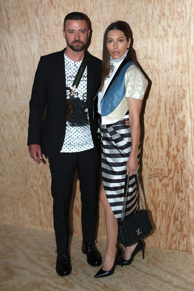 PARIS, FRANCE - OCTOBER 01: Justin Timberlake and Jessica Biel attend the Louis Vuitton Womenswear Spring/Summer 2020 show as part of Paris Fashion Week on October 01, 2019 in Paris, France. (Photo by Bertrand Rindoff Petroff/Getty Images)