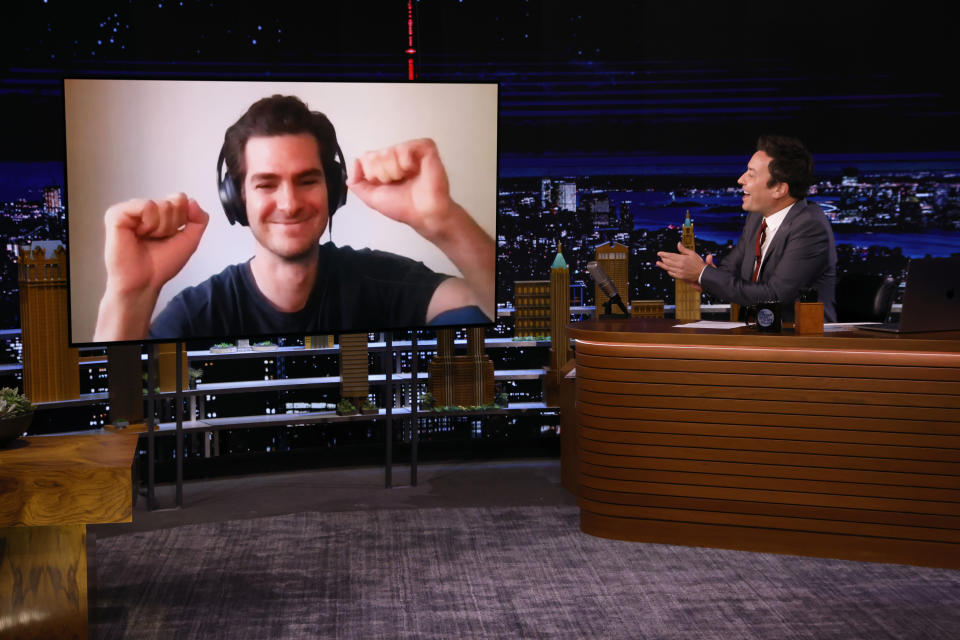 THE TONIGHT SHOW STARRING JIMMY FALLON -- Episode 1513 -- Pictured: (l-r) Actor Andrew Garfield during an interview with host Jimmy Fallon on Monday, September 13, 2021 -- (Photo By: Alex Hooks/NBC/NBCU Photo Bank via Getty Images)
