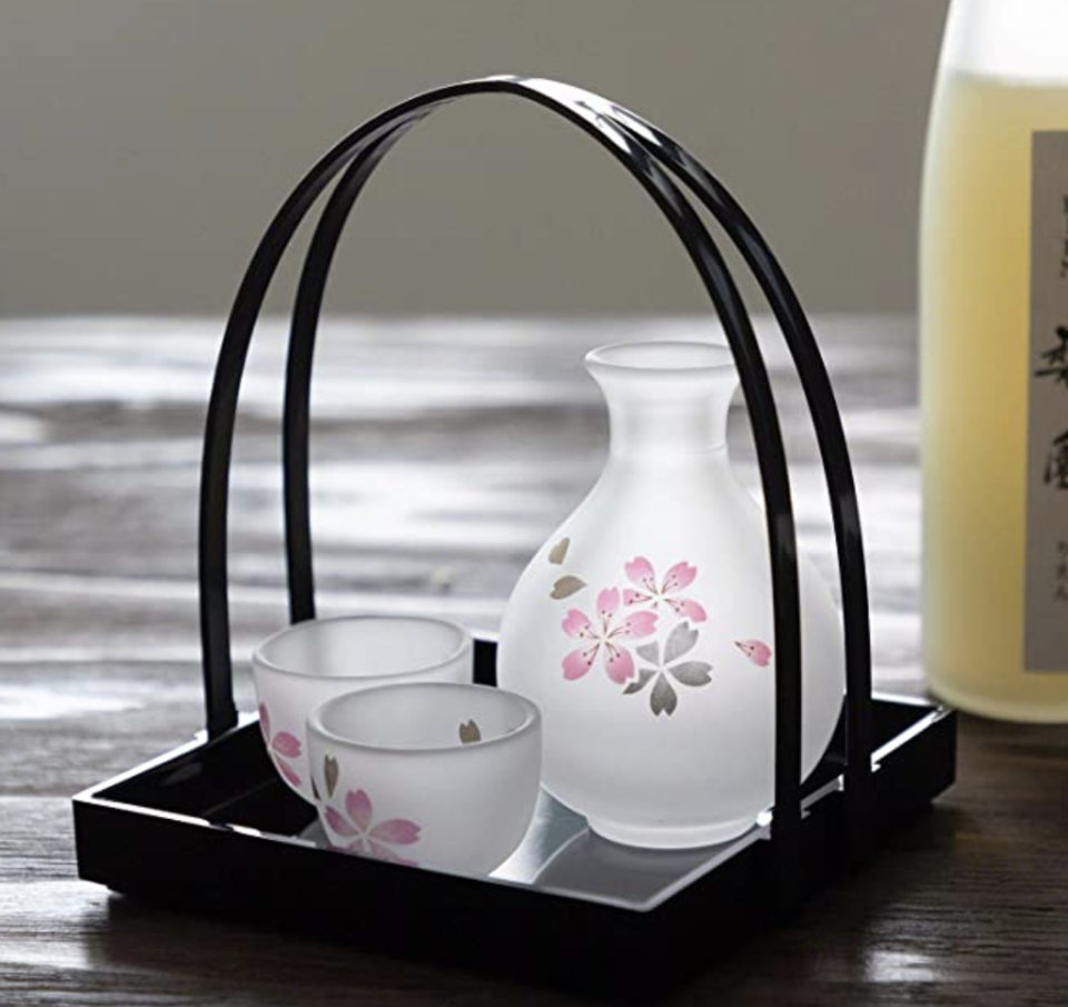 PHOTO: Amazon. Japanese Sake Serving Glass Set with Tray, Made in Japan, Handmade