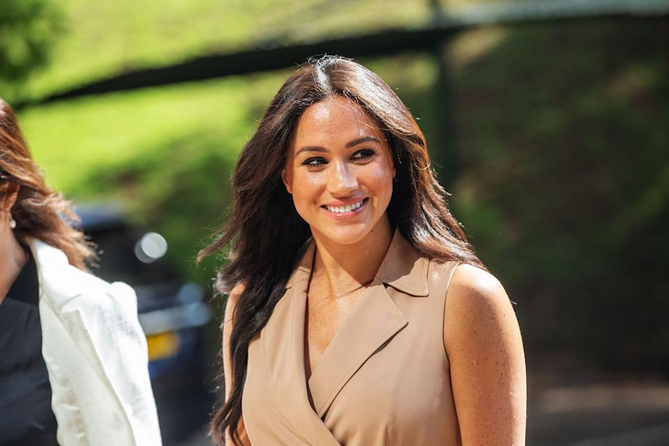 Meghan Markle, the Duchess of Sussex arrives at the University of Johannesburg, South Africa, on October 01, 2019. - Meghan Markle, the Duchess of Sussex, is meeting academics and students to discuss the challenges faced by young women in accessing higher education. (Photo by Michele Spatari / AFP)        (Photo credit should read MICHELE SPATARI/AFP/Getty Images)