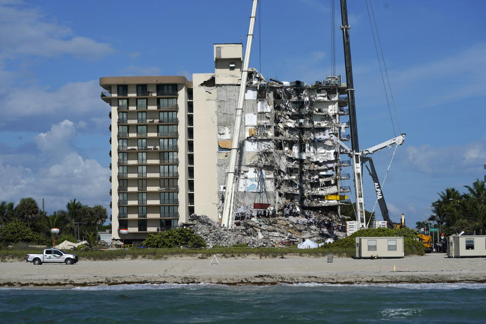 The Surfside building rubble as seen from the water in Florida.