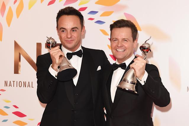 Anthony McPartlin and Declan Donnelly, winners of the Best TV Presenter award, pose in the winners room at the National Television Awards 2020 at The O2 Arena on January 28, 2020 in London, England. (Photo by David M. Benett/Dave Benett/Getty Images)