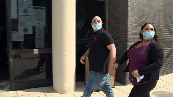 PHOTO: Philip Sarner and Emily Orbay, the couple accused of beating a Black hotel clerk in Mystic, Connecticut in June, arrive to court, April 28, 2021, in New London, Connecticut. (WTNH)