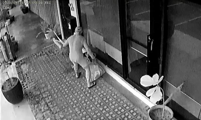 A screenshot from Awegallerry's CCTV shows the man taking the plants from their premises. — Photo courtesy of Instagram/ Awegallery