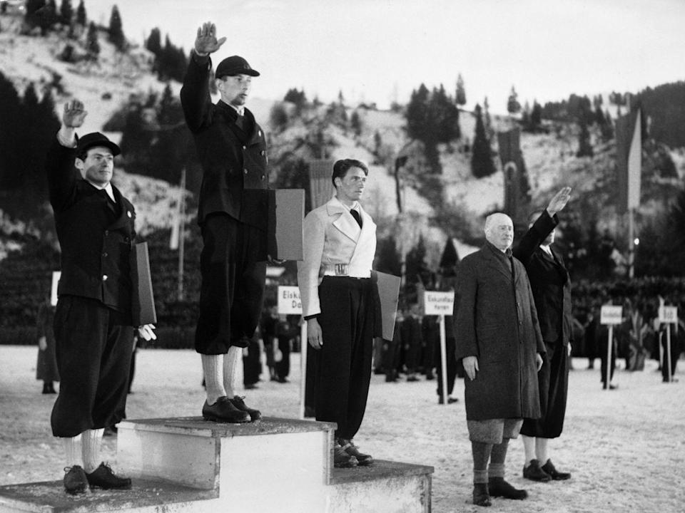 <p>Europe was on the brink of World War II during the 1936 winter games, which were held in Germany under the Chancellor at the time, Adolf Hitler. French Alpine skier, Émile Allais, took home the bronze medal behind German and Austrian competitors who saluted Hitler on the podium—but Allais refused to follow suit.</p>