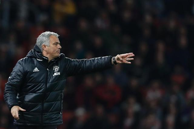 Manchester United's manager Jose Mourinho gestures from the touchline during the English Premier League football match against Southampton May 17, 2017 (AFP Photo/Adrian DENNIS)