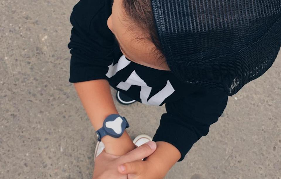 <p>A wristwatch for your little one, the Beluvv is connected to a smartphone app which allows you to see where your child is – and sends you a warning if they stray too far. $37-41 (£27-31) [Photo: Instagram/nikaromina] </p>