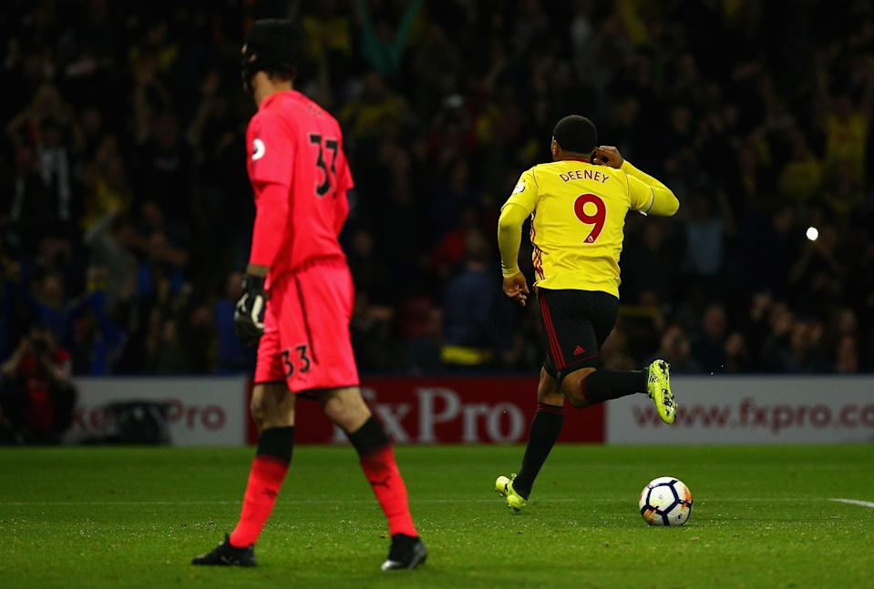 Troy Deeney scored against Arsenal, and had a hand in the winner. (Getty)