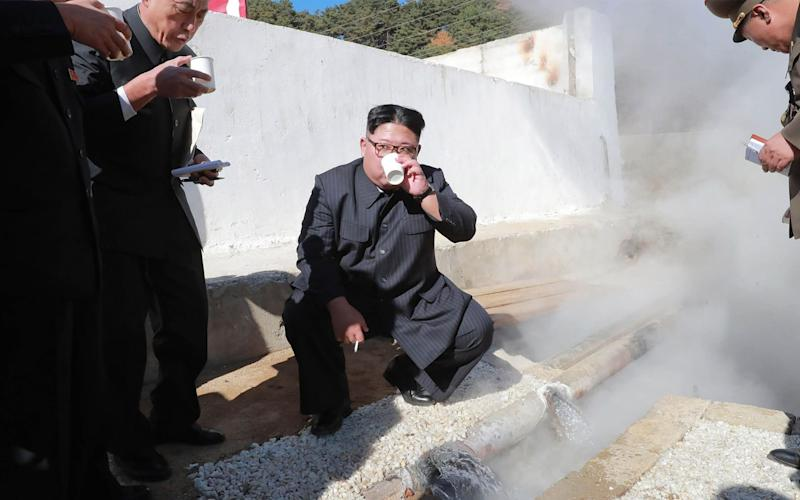 North Korean leader Kim Jong-un inspects the construction site of the Hot Spring Tourist Area in Yangdok County, South Phyongan Province - AFP