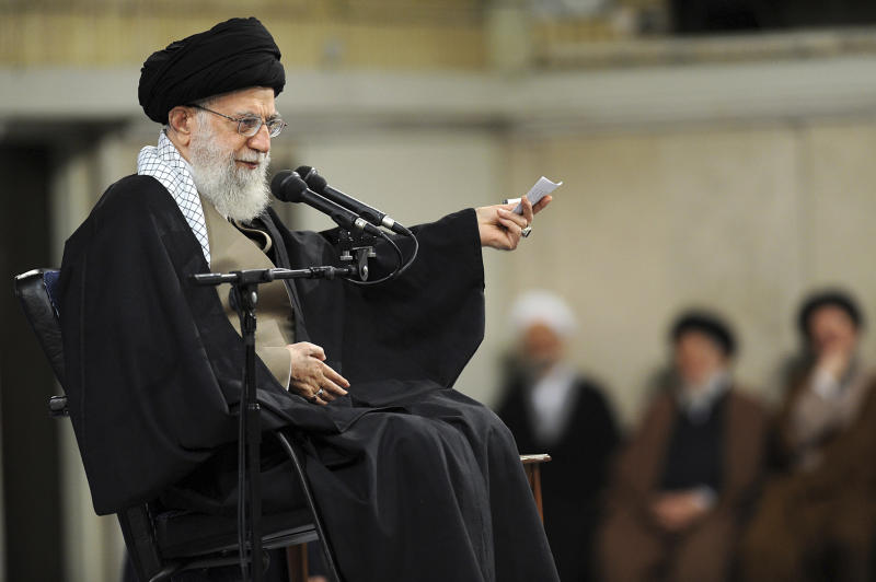 "In this photo released by an official website of the office of the Iranian supreme leader, Supreme Leader Ayatollah Ali Khamenei speaks at a meeting in Tehran, Iran, Wednesday, Jan. 9, 2019. Khamenei called U.S. officials ""first-class idiots,"" mocking American leaders as U.S. Secretary of State Mike Pompeo tours the Mideast. (Office of the Iranian Supreme Leader via AP)"