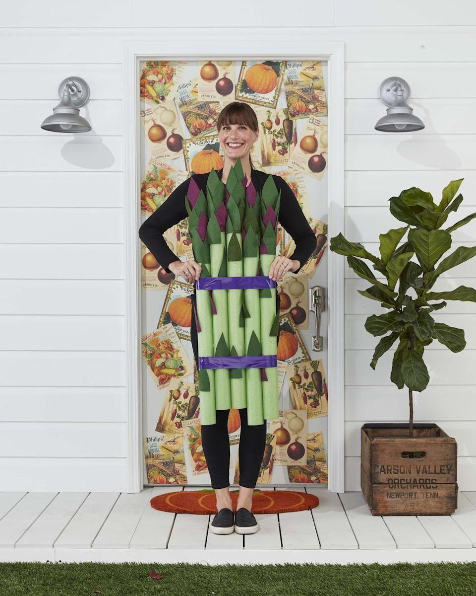 """<p>To make this wildly creative costume, gather five lime green pool noodles and 50 and to 60 leaves cut from purple and green felt. Adhere your leaves to the pool noodles, concentrating them at the top and securing with spray adhesive. Then, bundle the pool noodles with purple duct tape. To complete, tape a pair of suspenders to the back of the noodles and drape over your shoulders.</p><p><a class=""""link rapid-noclick-resp"""" href=""""https://www.amazon.com/Oodles-Noodles-Deluxe-Foam-Pool/dp/B0787CFRDM?tag=syn-yahoo-20&ascsubtag=%5Bartid%7C10070.g.490%5Bsrc%7Cyahoo-us"""" rel=""""nofollow noopener"""" target=""""_blank"""" data-ylk=""""slk:SHOP POOL NOODLES"""">SHOP POOL NOODLES</a></p>"""