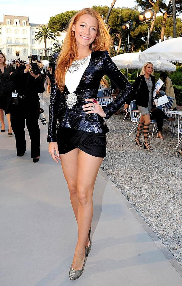 """Gossip Girl"" star (and budding fashionista) Blake Lively showed off her gorgeous gams in a super chic Chanel ensemble and Louboutin heels as she arrived at the Chanel Resort 2012 presentation in Cap d'Antibes, France. What do you think about her skimpy skirt? Too short or 2 Hot 2 Handle? Dominique Charriau/<a href=""http://www.gettyimages.com/"" target=""new"">GettyImages.com</a> - May 9, 2011"
