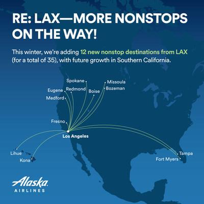 This winter, we're adding 12 new nonstop destinations from LAX (for a total of 35), with future growth in Southern California.