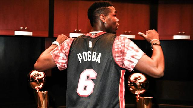 Paul Pogba, who is recovering from injury, attended the Miami Heat's 109-94 win over the New Orleans Pelicans on Saturday.