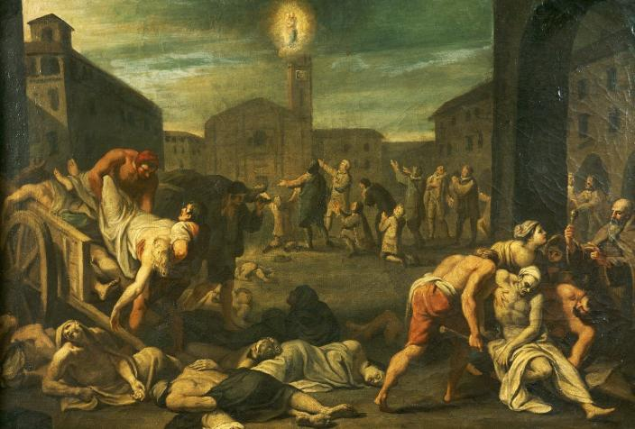 """<span class=""""caption"""">The 17th-century plague in Rome.</span> <span class=""""attribution""""><a class=""""link rapid-noclick-resp"""" href=""""https://www.gettyimages.com/detail/news-photo/the-plague-in-rome-italy-17th-century-rome-museo-storico-news-photo/164080324?adppopup=true"""" rel=""""nofollow noopener"""" target=""""_blank"""" data-ylk=""""slk:Photo by DeAgostini/Getty Images"""">Photo by DeAgostini/Getty Images</a></span>"""