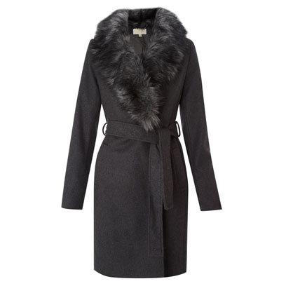 Grey coat with fur collar Michael Kors at Hose of Fraser