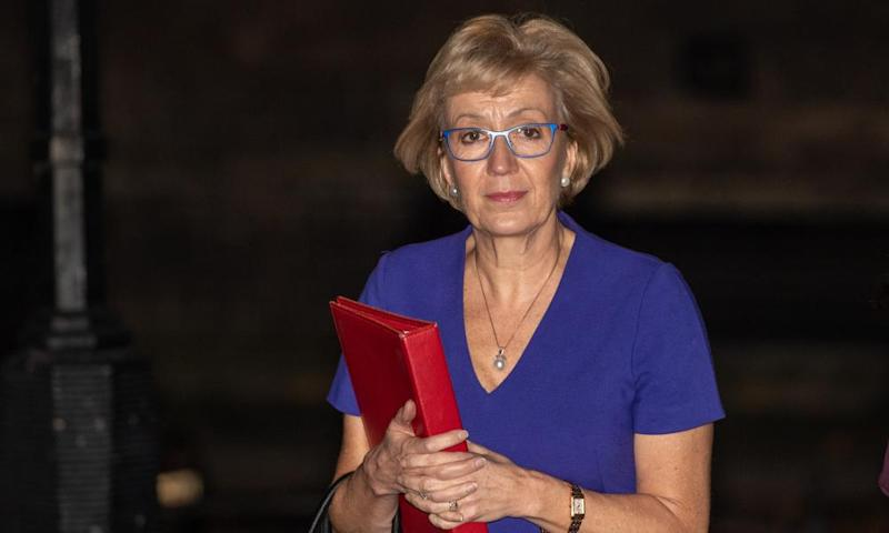 The leader of the House of Commons, Andrea Leadsom, leaves Downing Street as cabinet ministers read the draft Brexit documents