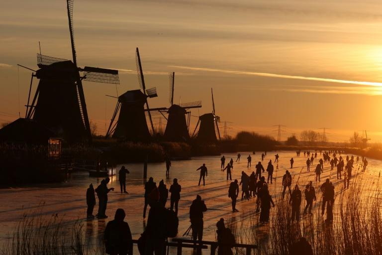 In Kinderdijk in western Holland, people laced up their skates for a spin near the country's famous UNESCO-listed windmills