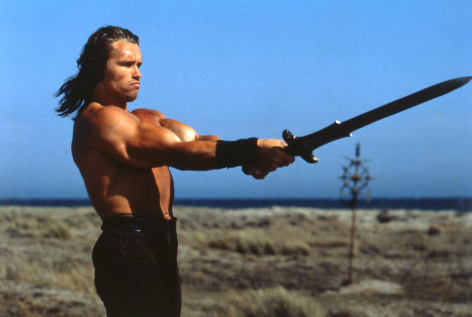 Schwarzenegger with his sword on the set of 1982's Conan the Barbarian. (Photo: Dino De Laurentiis/Universal Pictures/Sunset Boulevard/Corbis via Getty Images)