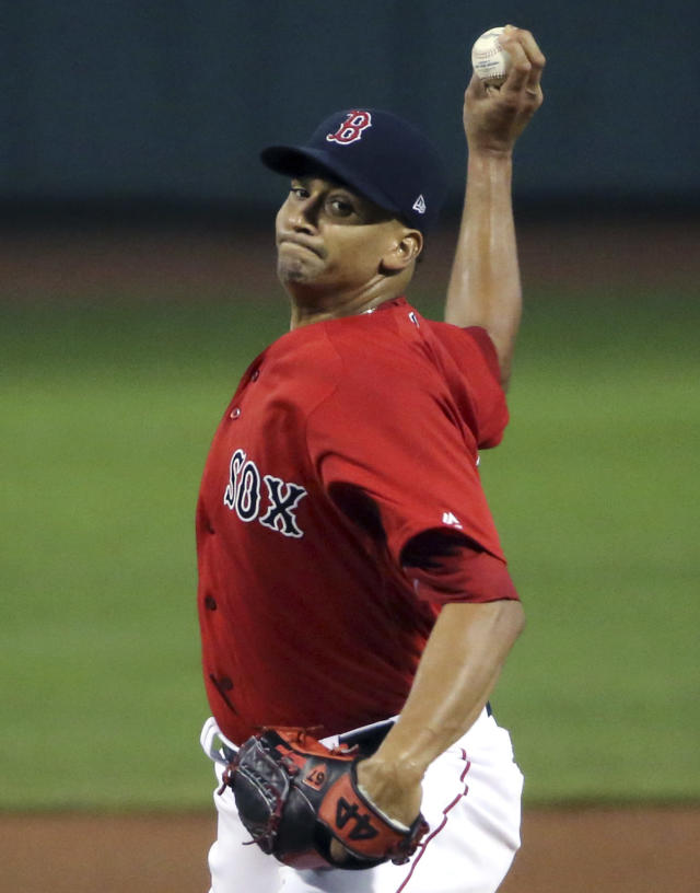 Boston Red Sox starting pitcher William Cuevas delivers to the New York Mets in the first inning of a baseball game at Fenway Park, Friday, Sept. 14, 2018, in Boston. (AP Photo/Elise Amendola)