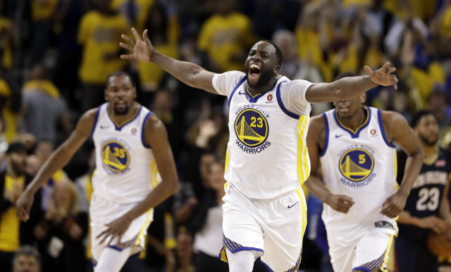 The Warriors had their fun with the Rockets, then had their fun with the media after Game 6. (AP Photo)