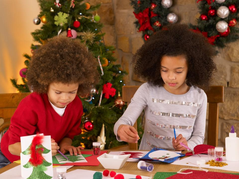 children making christmas cards