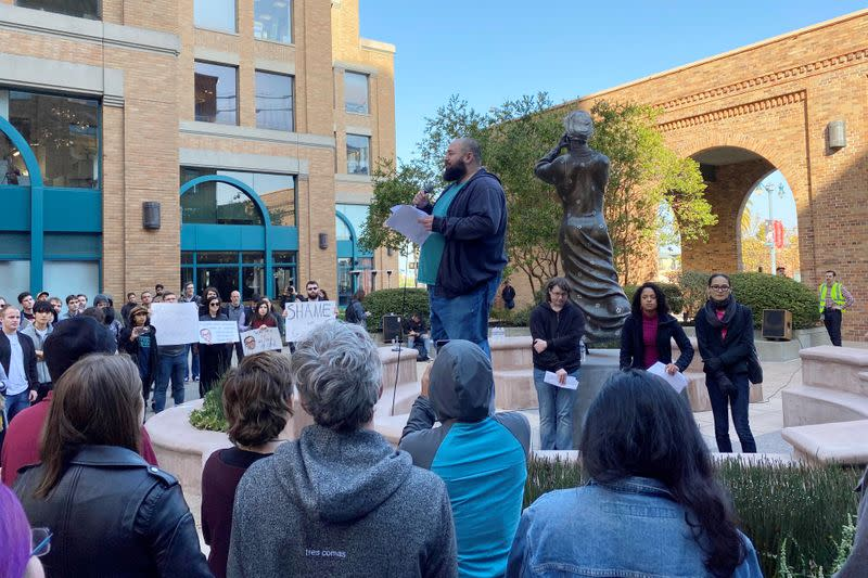 FILE PHOTO: Google site reliability engineer Laurence Berland addresses fellow employees during a rally in San Francisco