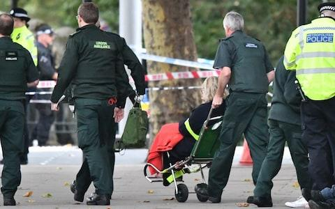 An injured pedestrian being taken to an ambulance - Credit: Ben Cawthra/London News Pictures