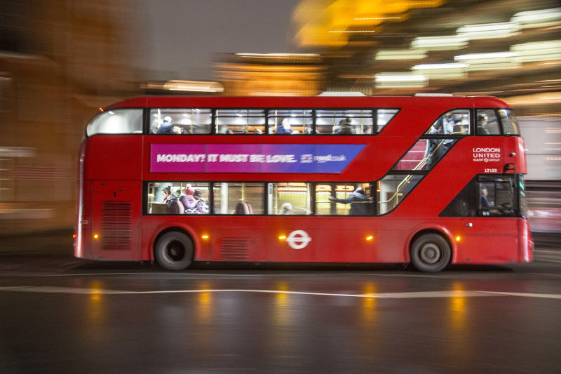 The new iconic buses in the streets of London, the red double decker Routemaster buses. They were introduced in 1956. Nowadays the buses are moving with hybrid electric diesel engines. The red bus become one of the landmarks of London and symbol for Great Britain. (Photo by Nicolas Economou/NurPhoto via Getty Images)