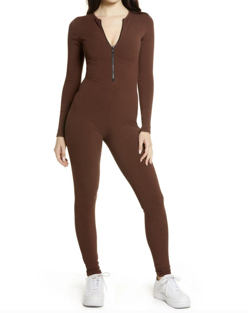 <p>This <span>Naked Wardrobe Zipped &amp; Snatched Long Sleeve Jumpsuit</span> ($76) has a form-fitting silhouette, which makes it a great choice on days when you want to show off your curves.</p>