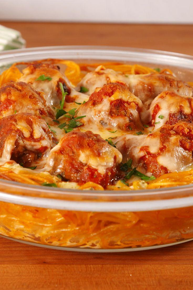 """<p>Always down for a new way to eat pasta.</p><p>Get the recipe from <a href=""""https://www.delish.com/cooking/recipe-ideas/recipes/a52491/spaghetti-meatball-pie-recipe/"""" rel=""""nofollow noopener"""" target=""""_blank"""" data-ylk=""""slk:Delish"""" class=""""link rapid-noclick-resp"""">Delish</a>.</p>"""