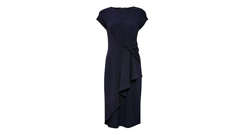 Luxe Navy Crepe Manipulated Dress