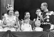 The Queen and Prince Philip on the balcony at Buckingham Palace with Prince Charles and Princess Anne, following Queen Elizabeth II's coronation at Westminster Abbey.