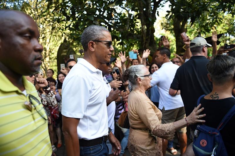 Former US president Barack Obama visits Tirtha Empul temple at Tampaksiring Village in Gianyar on the Indonesian resort island of Bali on June 27, 2017