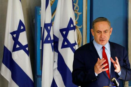 FILE PHOTO: Israeli Prime Minister Benjamin Netanyahu speaks during an event marking International Holocaust Remembrance Day, marked on January 27, at the Yad Vashem synagogue in Jerusalem