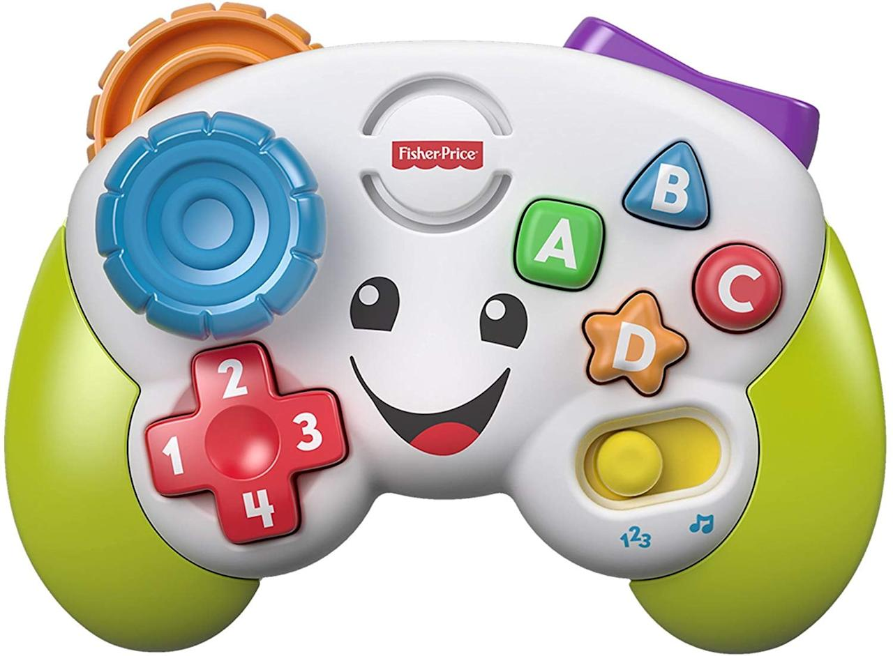 "<p>Who says you have to have developed fine motor skills to be a serious gamer? This <a href=""https://www.popsugar.com/buy/Fisher-Price-Game-amp-Learn-Controller-506760?p_name=Fisher-Price%20Game%20%26amp%3B%20Learn%20Controller&retailer=amazon.com&pid=506760&price=7&evar1=moms%3Aus&evar9=25752605&evar98=https%3A%2F%2Fwww.popsugar.com%2Fphoto-gallery%2F25752605%2Fimage%2F46805222%2FFisher-Price-Game-Learn-Controller&list1=holiday%2Cgift%20guide%2Cbabies%2Cnewborn%2Cgifts%20under%20%24100%2Cbaby%20shopping%2Cgifts%20for%20babies&prop13=api&pdata=1"" rel=""nofollow"" data-shoppable-link=""1"" target=""_blank"" class=""ga-track"" data-ga-category=""Related"" data-ga-label=""https://www.amazon.com/Fisher-Price-Laugh-Learn-Game-Controller/dp/B079JL2FSY/ref=sr_1_130?gclid=EAIaIQobChMIkujjvte15QIVg5OzCh0_vwBxEAAYASAAEgKMZvD_BwE&amp;hvadid=323419153621&amp;hvdev=c&amp;hvlocphy=9004323&amp;hvnetw=g&amp;hvpos=1t1&amp;hvqmt=b&amp;hvrand=14119764288082256094&amp;hvtargid=kwd-451613107364&amp;hydadcr=20263_9709414&amp;keywords=baby+gifts&amp;qid=1571947358&amp;sr=8-130"" data-ga-action=""In-Line Links"">Fisher-Price Game &amp; Learn Controller</a> ($7) is for all of the gamer babies out there.</p>"