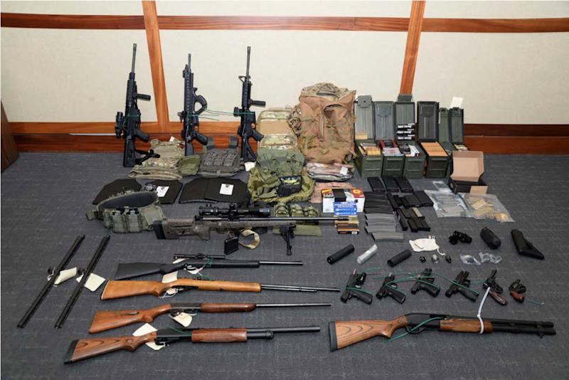 This undated file image provided by the U.S. District Court in Maryland shows a photo of firearms and ammunition that was in the motion for detention pending trial in the case against Christopher Hasson. (Photo: U.S. District Court via AP, File)