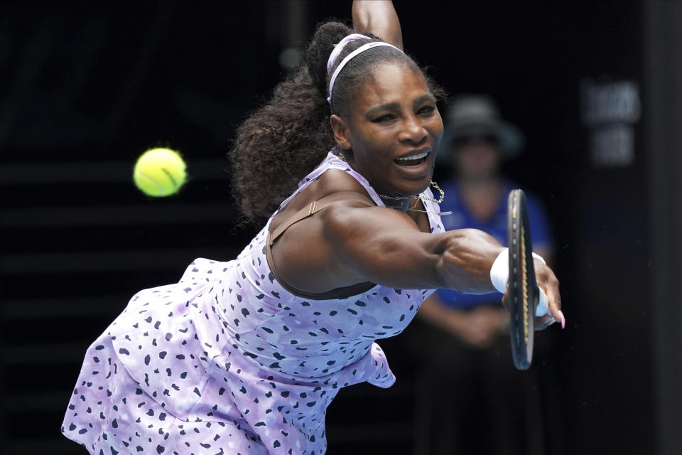 FILE - In this Friday, Jan. 24, 2020 file photo, United States' Serena Williams reaches for a return to China's Wang Qiang in their third round singles match at the Australian Open tennis championship in Melbourne, Australia. No. 11 Serena Williams – Has won seven of her 23 Grand Slam singles trophies at the Australian Open.(AP Photo/Lee Jin-man, File)