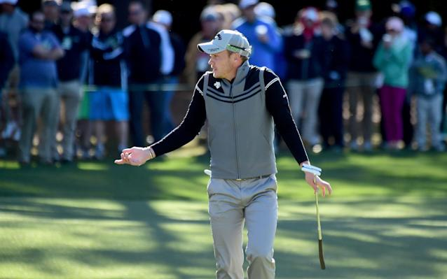<span>Danny Willett of England reacts on the first hole during the second round of the 2017 Masters Tournament at Augusta National Golf Club on April 7, 2017</span> <span>Credit: Harry How/Getty Images </span>