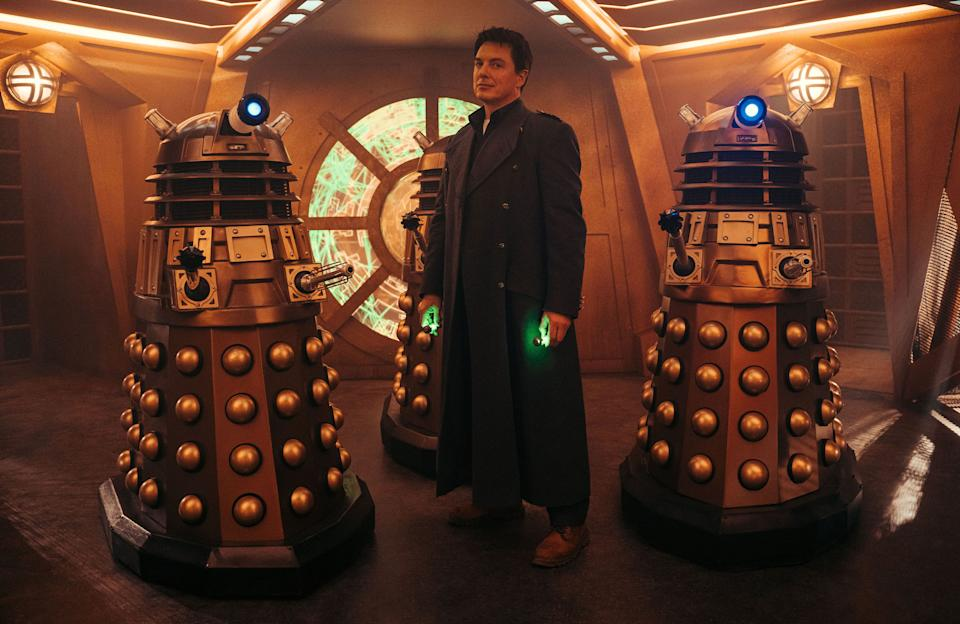 Captain Jack Harkness, played by John Barrowman, and the Daleks (James Pardon/BBC Studios/PA)