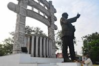 A statue in Mumbai of the architect of India's constitution B.R. Ambedkar, who is Dalit, the country's lowest caste