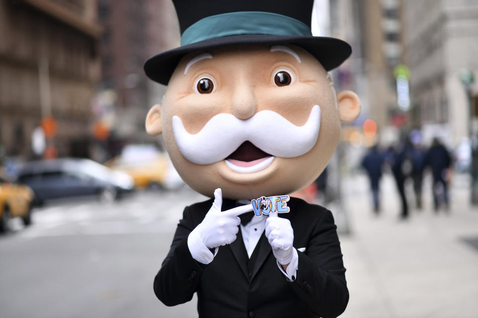 Rich Uncle Pennybags in New York City on March 17, 2021. (Charles Sykes/AP Images for Hasbro, Inc.)