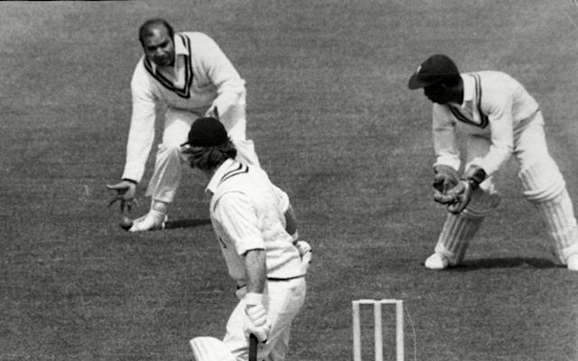 Warwickshire's Dennis Amiss Is Dropped By Intikhab Alam Watched By Surrey Team Mates Graham Roope And Wicket Keeper Lonsdale Skinner. - David Stevens/ANL/Shutterstock