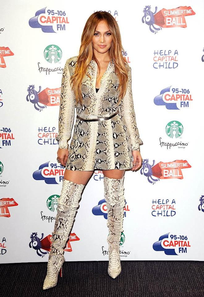 10. Diva extraordinaire Jennifer Lopez -- in a snakeskin blouse, skirt, and atrocious Christian Louboutin thigh-high boots -- at this year's Capital Radio Summertime Ball in London. (06/12/2011)