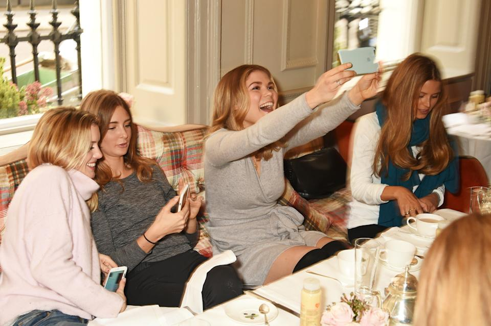 LONDON, ENGLAND - JANUARY 08: (L to R) Caggie Dunlop, Millie Mackintosh, Madeleine Shaw and Irene Forte attend the Madeleine Shaw Glow Guides app launch at Brown's Hotel in partnership with Origins Skincare on January 8, 2016 in London, England. (Photo by David M. Benett/Dave Benett/Getty Images for Madeleine Shaw)