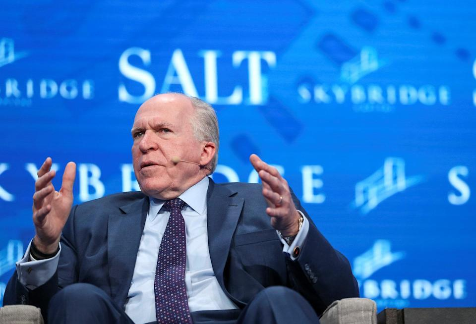 Former CIA Director John Brennan speaking at the SALT conference in Las Vegas on May 18, 2017. Credit: Reuters